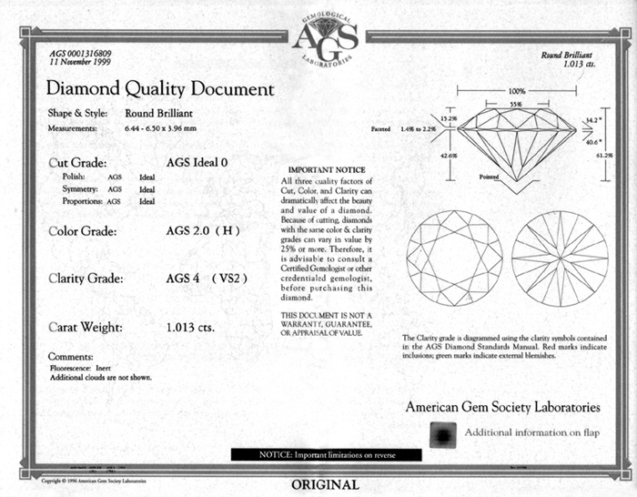 Jcrs diamonds diamond certrificates ags diamond quality document front yelopaper Images