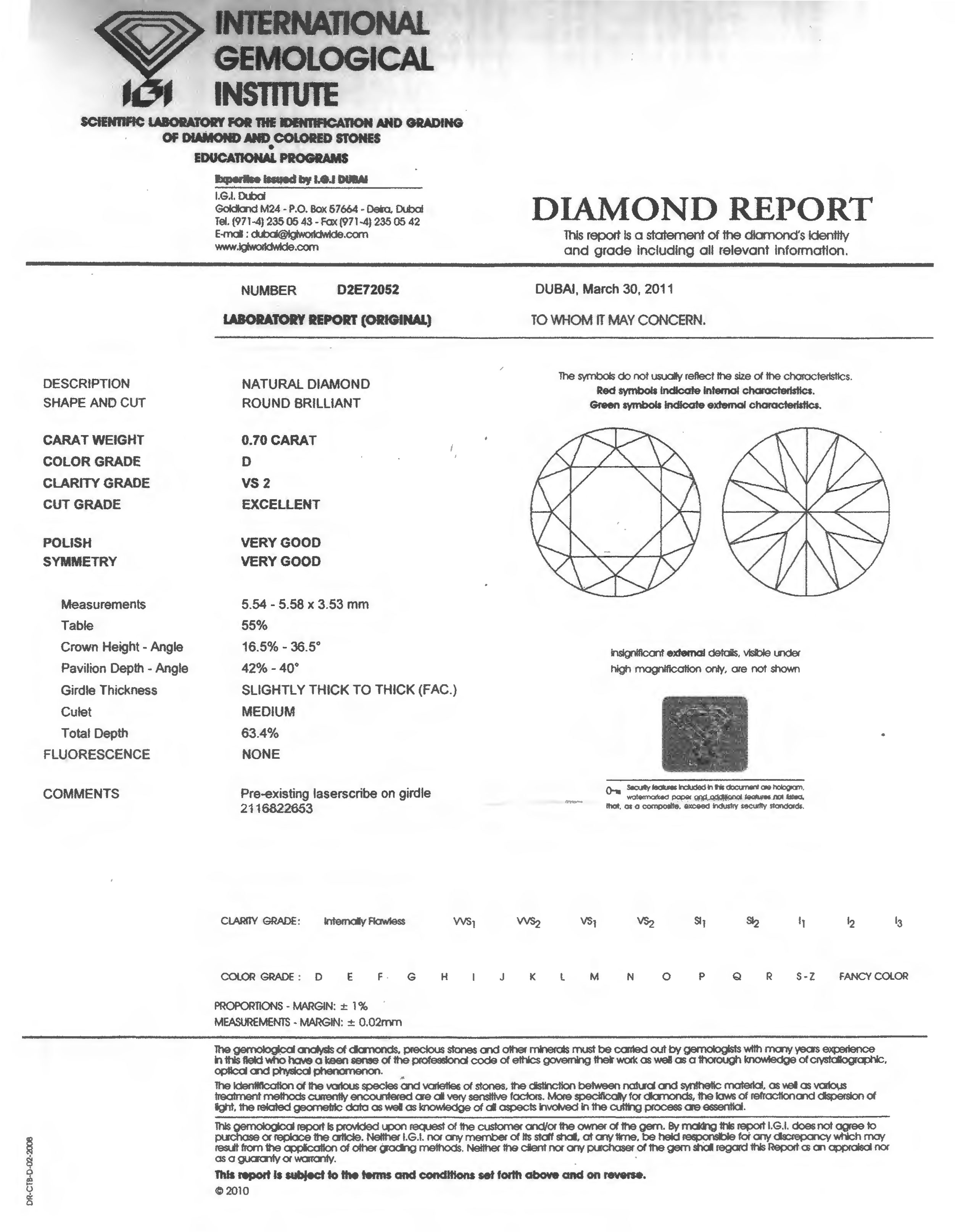 diamond report igl services certificate international grading gemological laboratory page