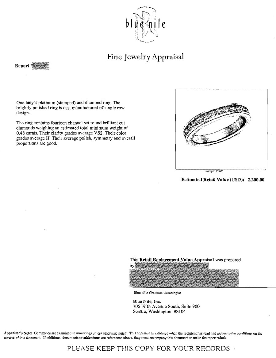 S Receipt And Appraisal For The Wedding Bands